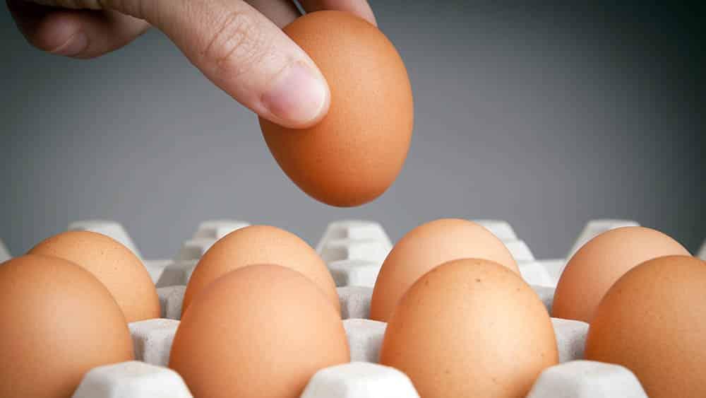 Mão pegando um ovo de um bandeja, um dos alimentos que oferece maior risco de salmonelose.