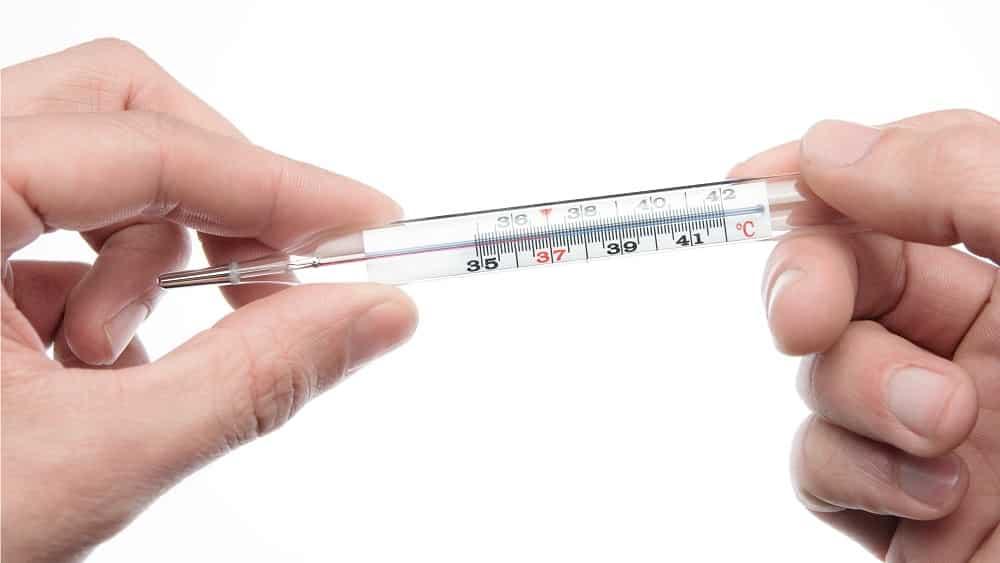 Termômetro indicando febre, decorrente da brucelose