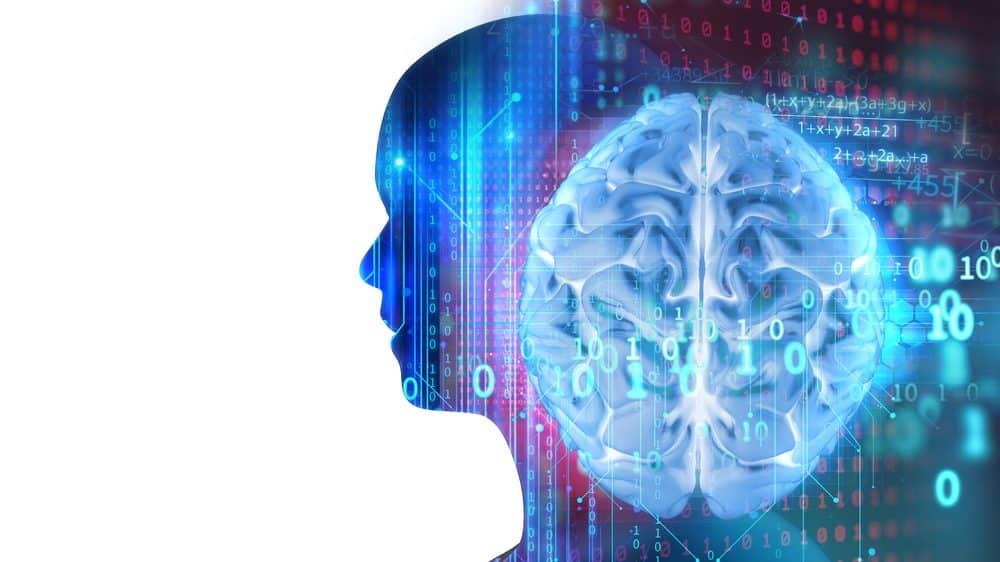 silhueta de home virtual e cérebro. veja artigo sobre cérebro e relações sociais