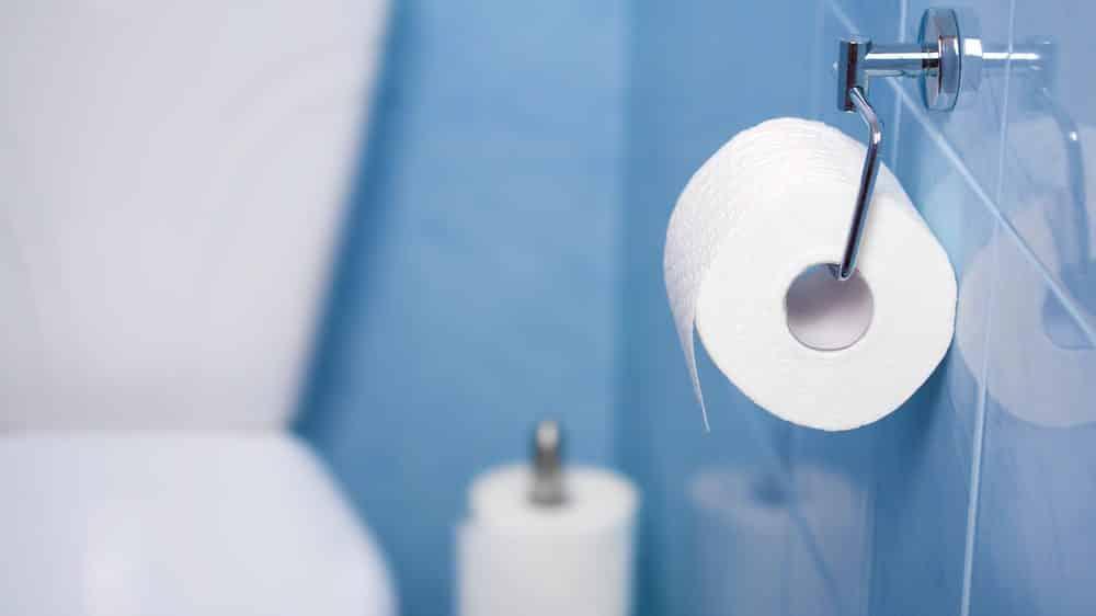 close de rolo de papel higiênico com vaso sanitário ao fundo