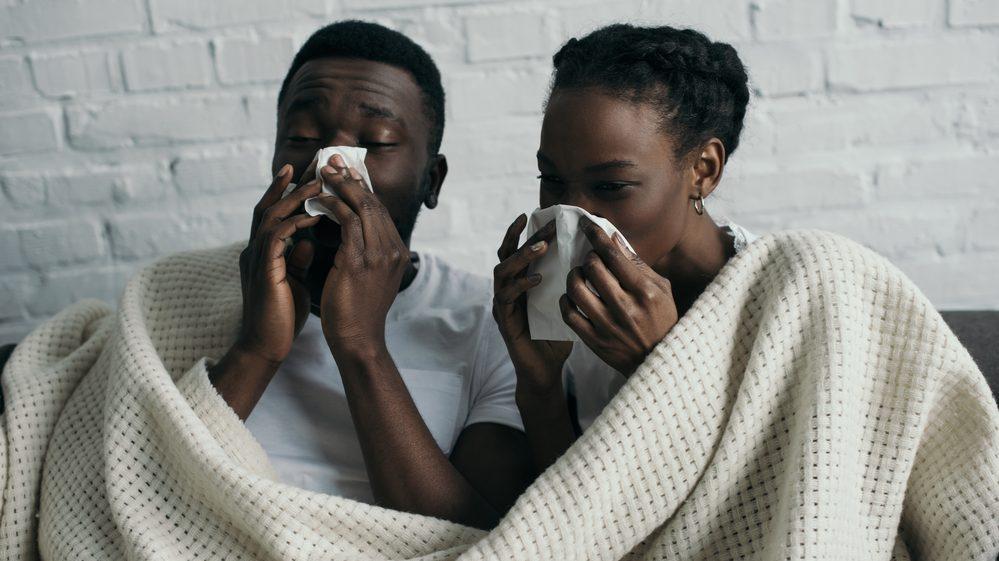 casal espirrando. veja a relação entre vírus e homens
