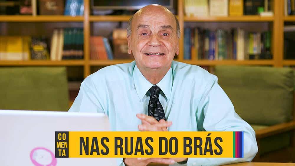 """Thumbnail do vídeo em que Drauzio comenta o livro que mais gostou de escrever com o texto """"Nas ruas do Brás""""."""