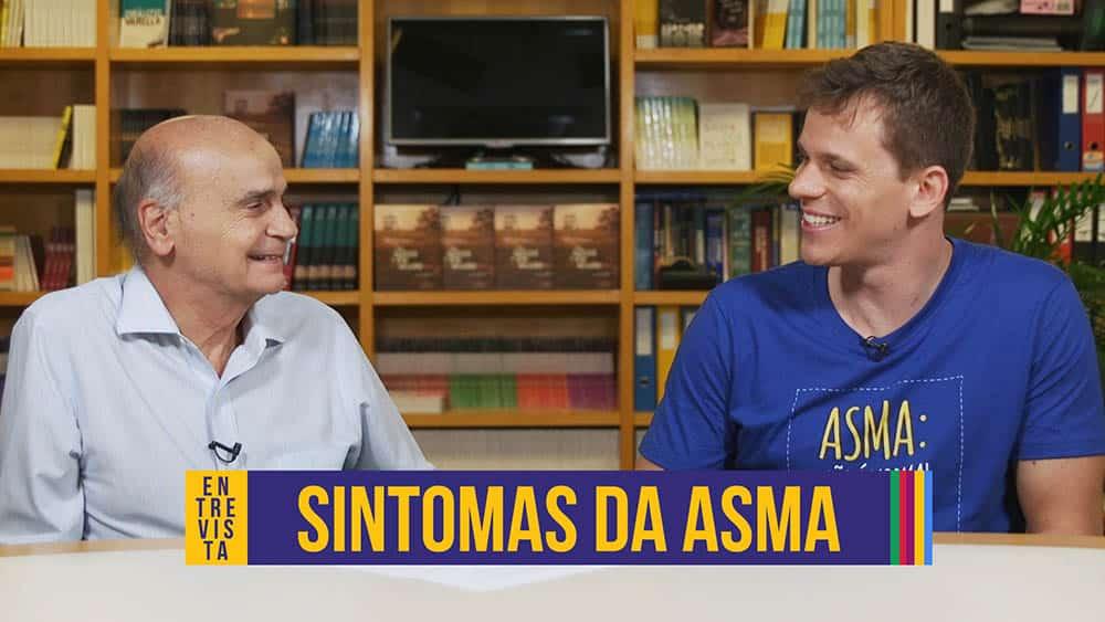 """Thumbnail com dr. Drauzio à esquerda e Cesar Cielo à direita com o texto """"sintomas da asma""""."""