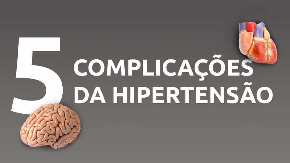 """Fundo cinza com texto em branco """"5 complicações da hipertensão, com ilustrações de um cérebro e um coração."""