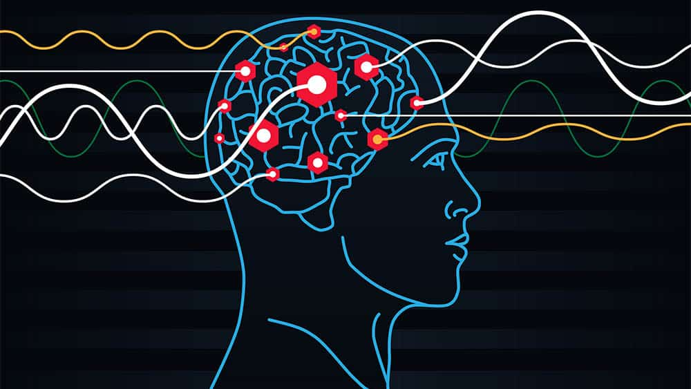 Ilustração digital com perfil de cabeça com eletrodos.