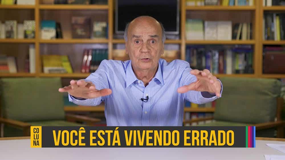 """Dr. Drauzio Varella e abaixo a frase """"você estea vivendo errado"""", referente ao conteúdo sobre sedentarismo."""