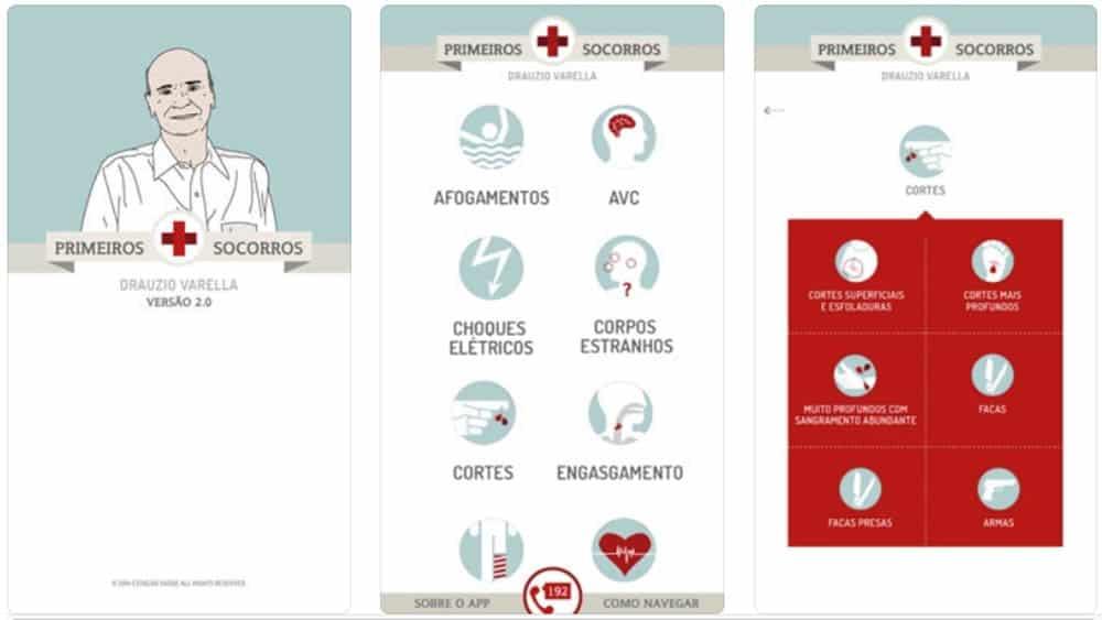 Três telas do app Primeiros Socorros Drauzio Varella.