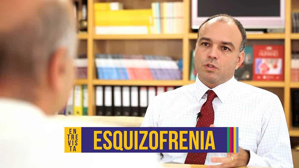 """Psiquiatra Rodrigo Bressan e abaixo a palavra """"esquizofrenia""""."""
